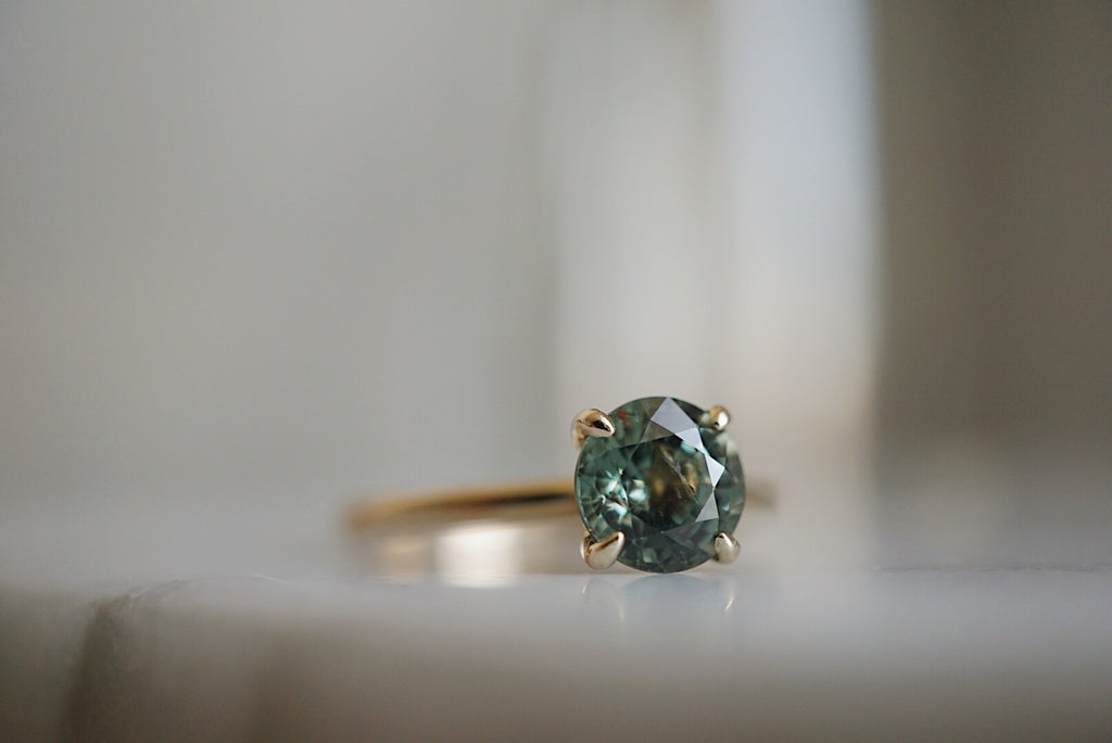 Only One Ring - Round Green Sapphire
