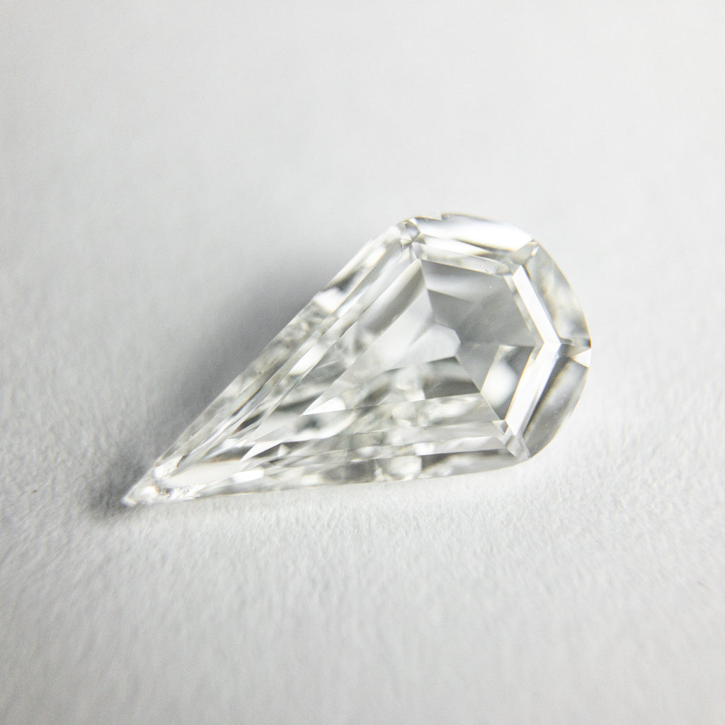 White Step Cut Diamond - 0.93ct Pear