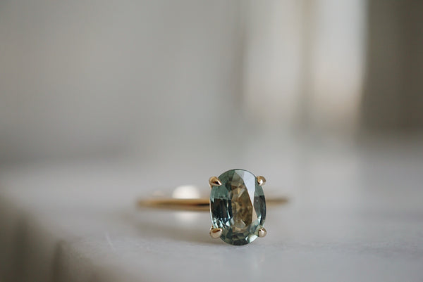 Only One Ring - Oval Green Sapphire