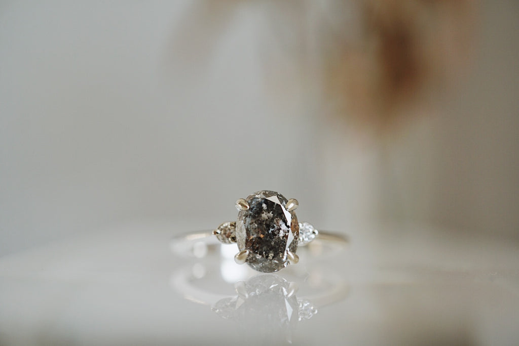 Companions Ring - 1.67ct Oval Salt and Pepper Diamond *SOLD
