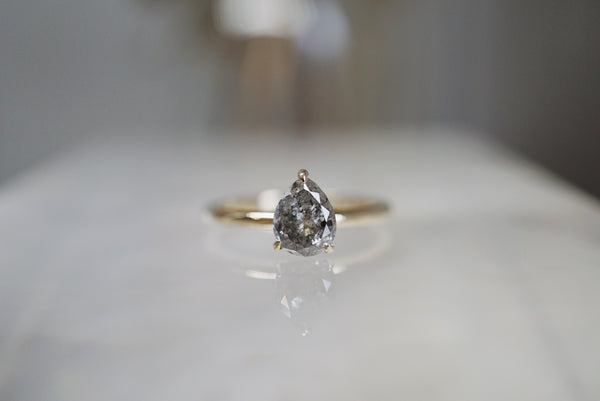 Only One Ring - 1.22ct Pear Salt & Pepper Diamond Ring *ready-to-ship