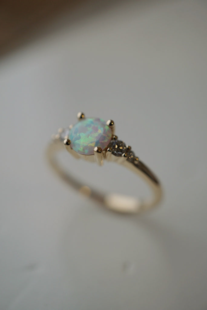 Selene Ring - 6mm Round White Australian Opal *Ready to ship - Foe & Dear