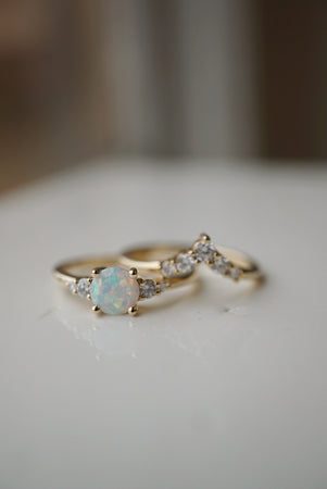 Selene Ring - 6mm Round White Australian Opal *Ready to ship