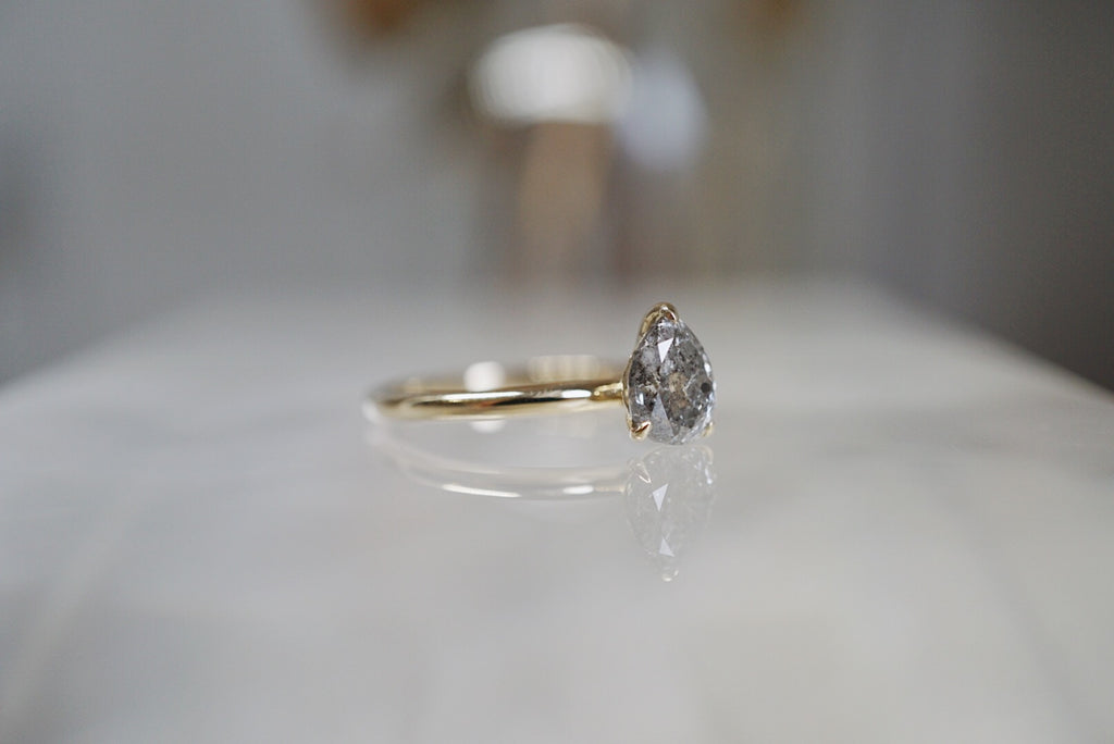 Only One Ring - 1.22ct Pear Salt & Pepper Diamond Ring *SOLD