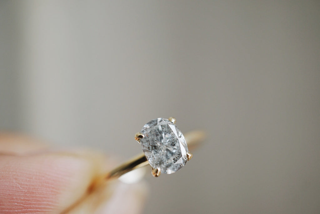 Only One Ring - 1.00ct Oval Salt and Pepper Diamond *SOLD