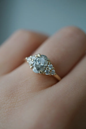 Odessa Ring - 1.02ct Bright Salt and Pepper Oval Diamond *ready-to-ship - Foe & Dear