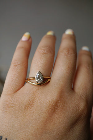 Akira Ring - 1.00ct Pear Salt and Pepper Diamond *ready-to-ship