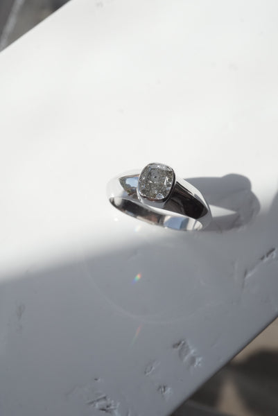 Jupiter Ring - 1.51ct Cushion Salt and Pepper Diamond *ready-to-ship - Foe & Dear