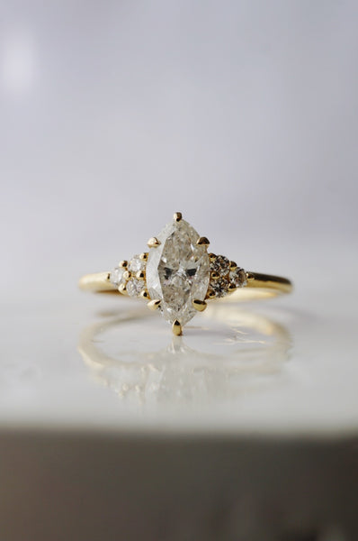 Odessa Ring - .96ct Salt and Pepper Marquise Diamond *ready-to-ship - Foe & Dear