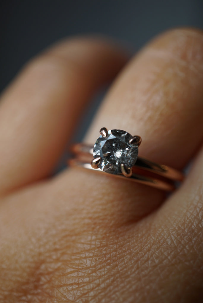 Only One Ring - 1.00ct Round Salt and Pepper Diamond *ready-to-ship