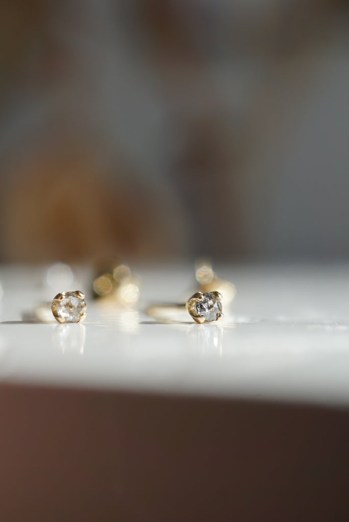 Baby Salt and Pepper Diamond Earrings