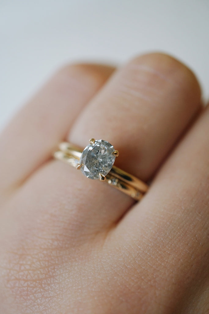 Only One Ring - .83ct Oval Salt and Pepper Diamond