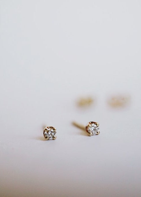 Baby White Diamond Earrings - Foe & Dear