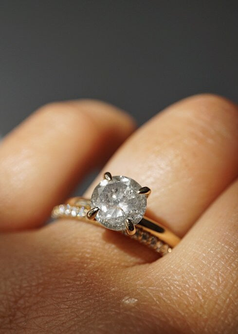 Only One Ring - 1.86ct Round Salt and Pepper Diamond *ready-to-ship