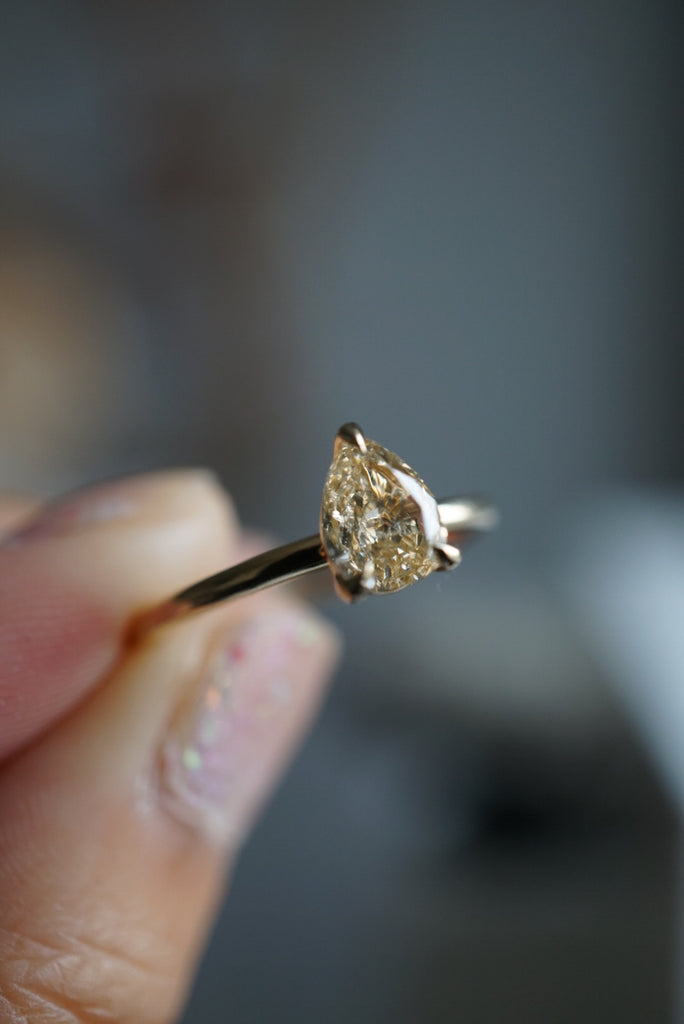 Only One Ring - .85ct Pear Champagne Salt and Pepper Diamond *SOLD