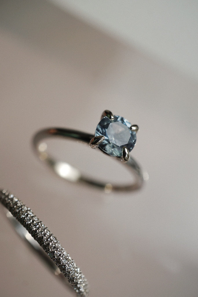 Only One Ring - .93ct Round Icy Grey Montana Sapphire *ready-to-ship - Foe & Dear