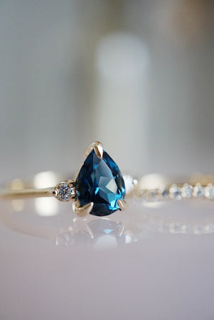 Companions Ring - 1.40ct Pear London Blue Topaz *ready-to-ship