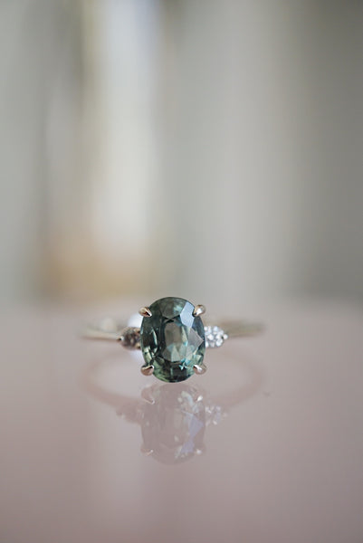 Companions Ring -  1.98ct Oval Green Sapphire *ready-to-ship