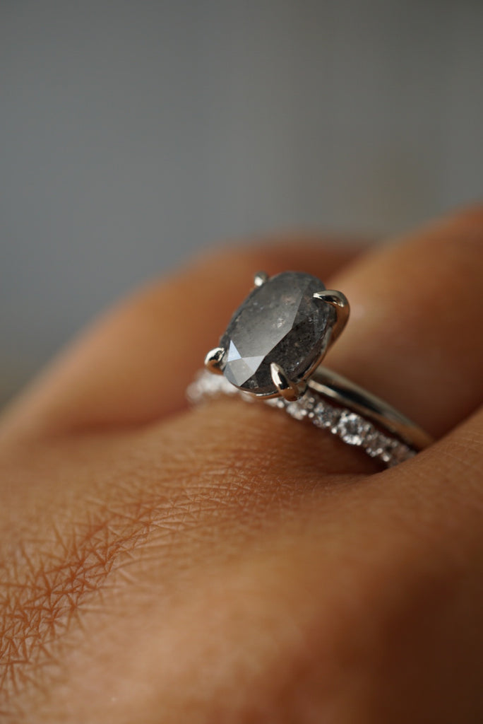 Only One Ring - 2.42ct Grey Oval Salt and Pepper Diamond *ready-to-ship