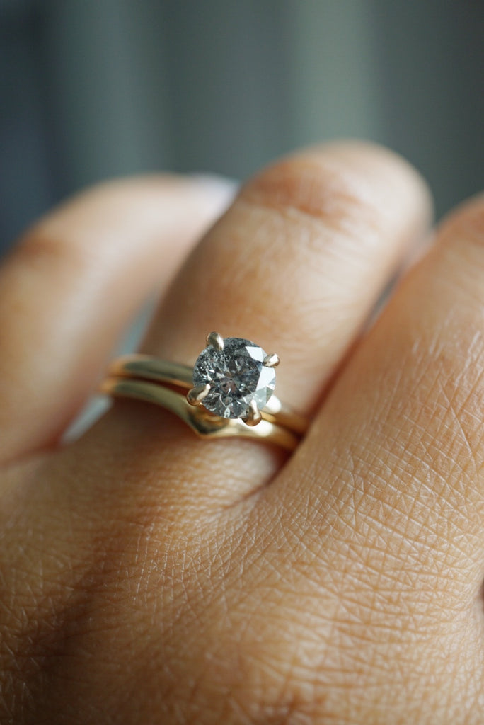 Only One Ring - 1.02ct Round Salt and Pepper Diamond *RESERVED FOR A