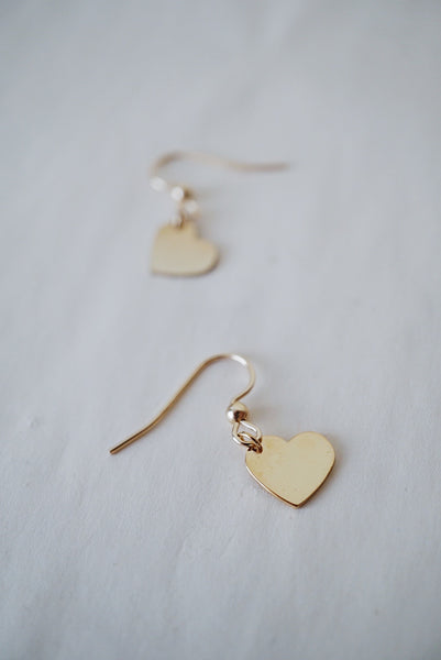 14k Yellow Gold Filled Heart Earrings
