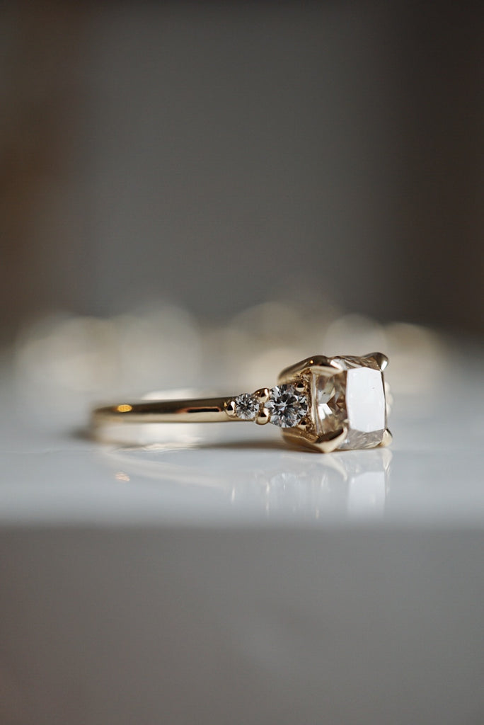 Selene Ring - 1.09ct Cushion Champagne Salt and Pepper *ready-to-ship