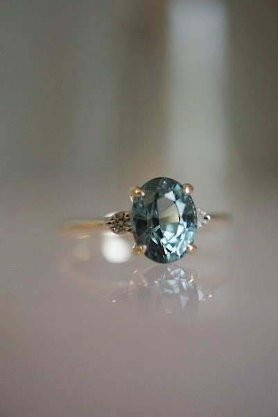 Companions Ring -  2.23ct Oval Aqua Sapphire *ready-to-ship