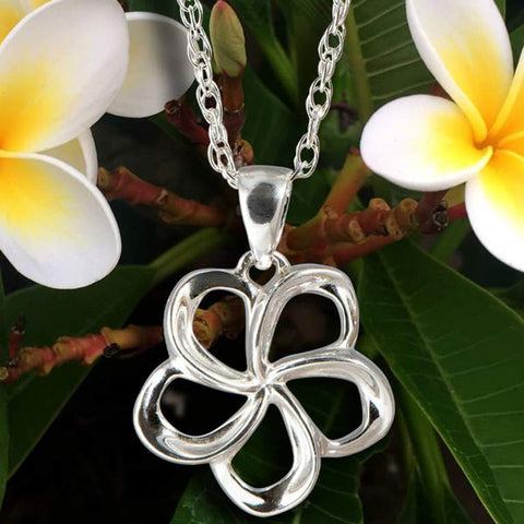 Plumeria Necklace in Sterling Silver with Chain