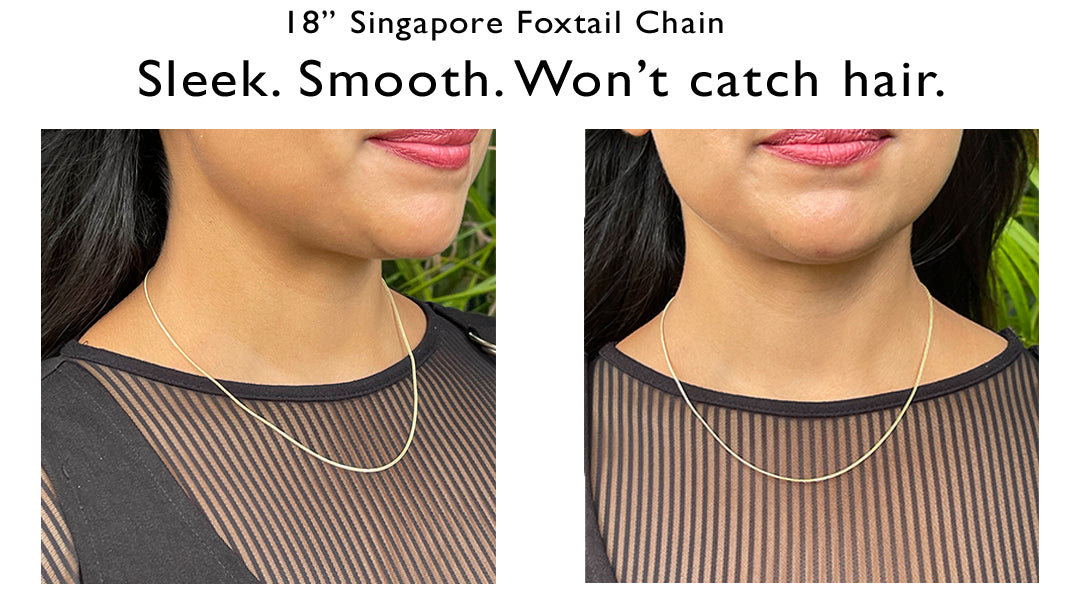 """18"""" Singapore Foxtail Chain on Model"""