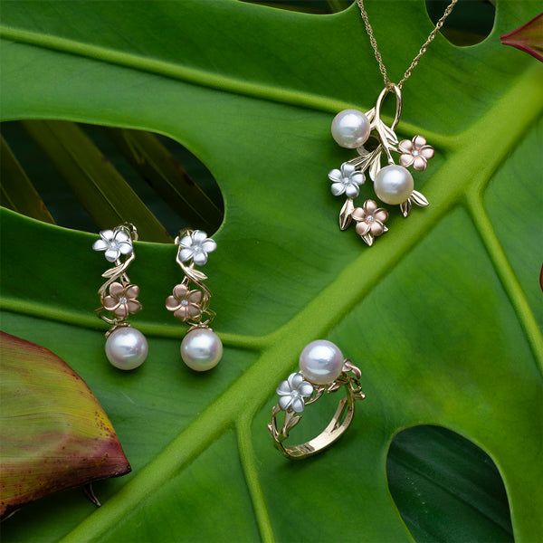 Maui Divers Jewelry Pearls In Bloom Tri-Color Gold