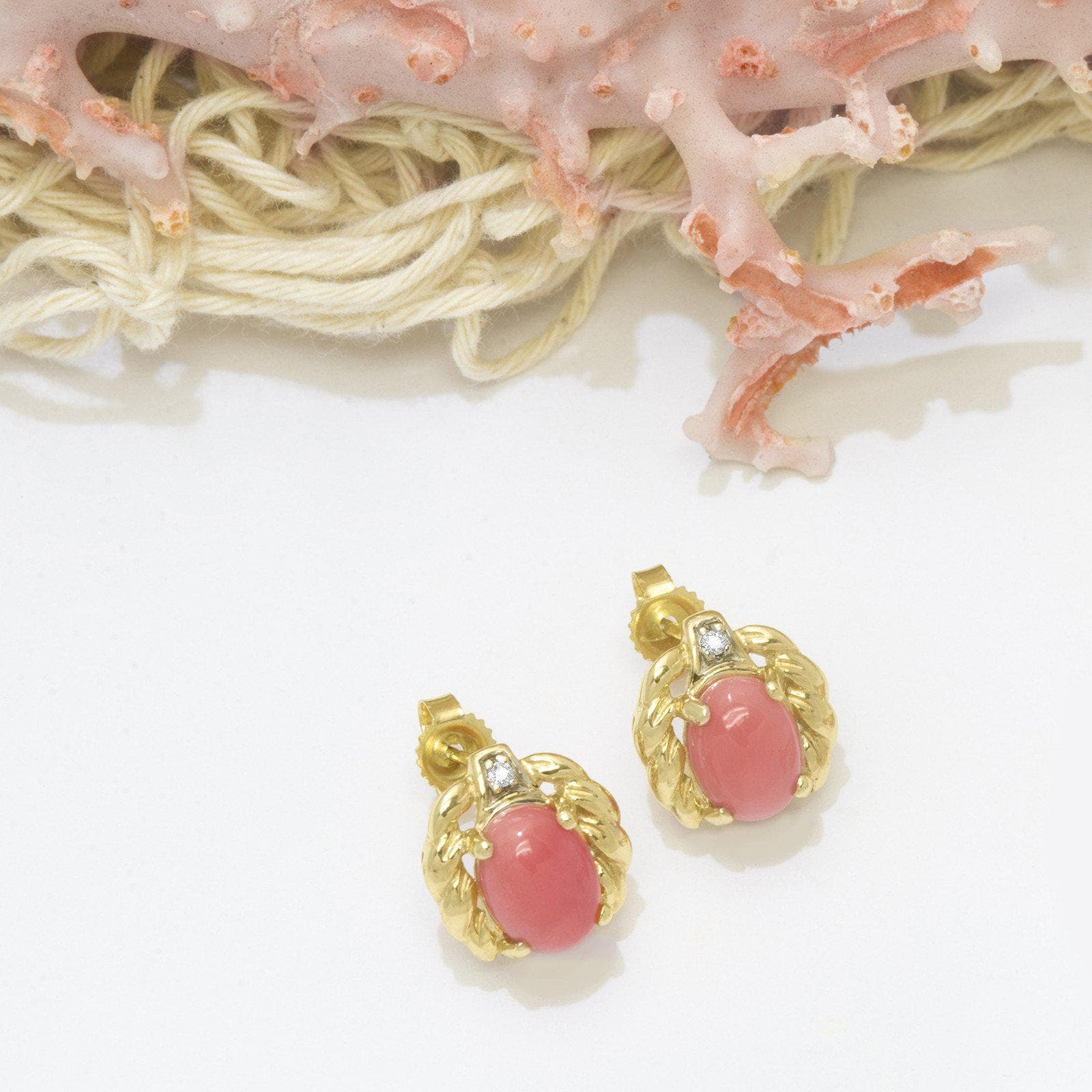 Pink Coral Earrings with Diamonds in 14K Yellow Gold