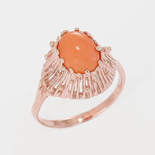 Pink Coral Ring with Diamonds in 14K Rose Gold