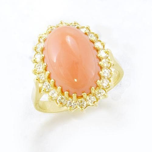 Pink Coral Ring with Diamonds in 14K Yellow Gold Ring