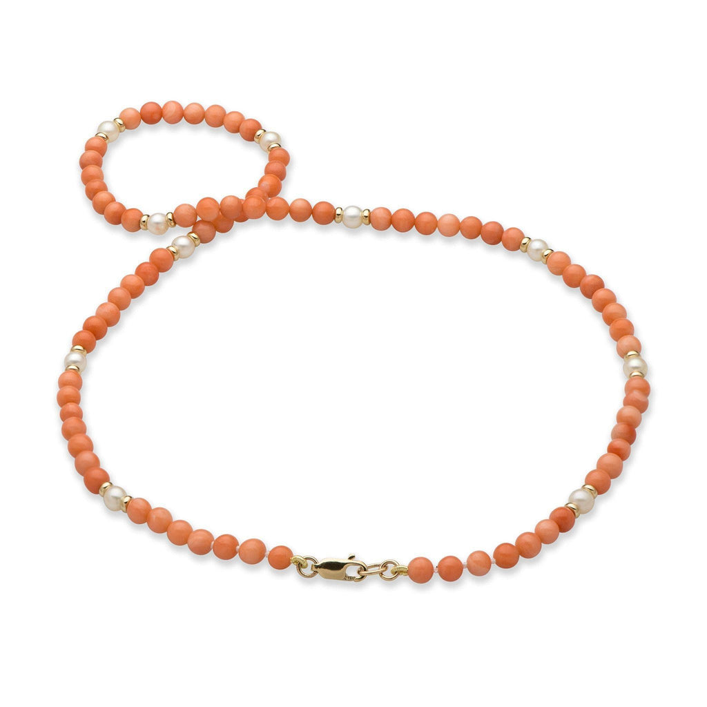 Pink Coral Necklace with Freshwater Pearls in 14K Yellow Gold 001-07397