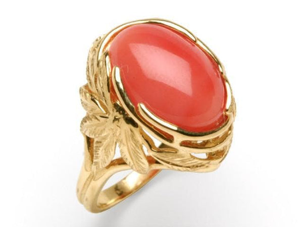 Pink Coral Ring In 14k Yellow Gold Ring
