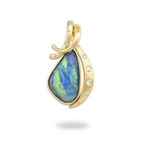 Opal Pendant in 14K Yellow Gold-[SKU]