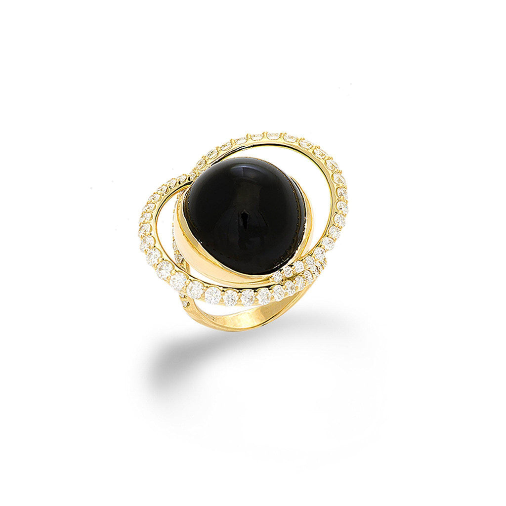 Black Coral Ring with Diamonds in 18K Yellow Gold