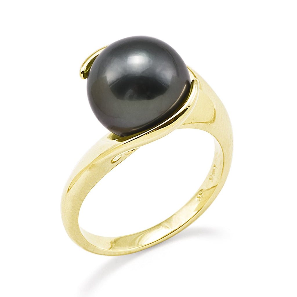 Tahitian Black Pearl Ring in 14K Yellow Gold (10-11mm) - Maui Divers Jewelry