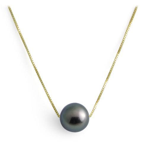 Tahitian black pearl necklace in 14k yellow gold 9 10mm aloadofball Image collections