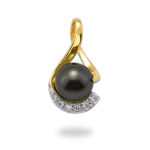 Tahitian Black Pearl Pendant with Diamonds in 14K Yellow Gold (11-12mm)