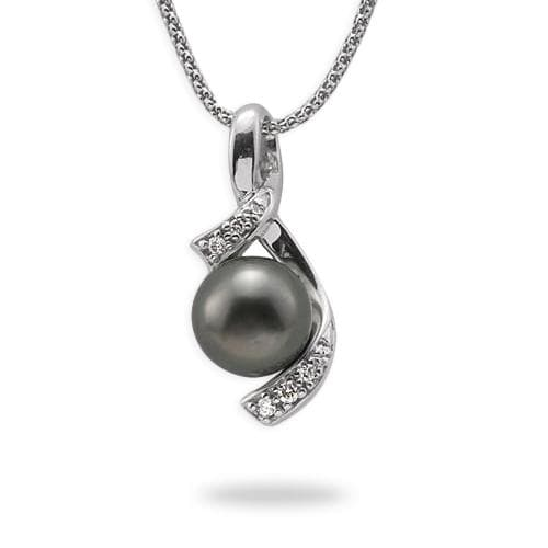 "18"" Tahitian Black Pearl Necklace in White Gold with Diamonds"