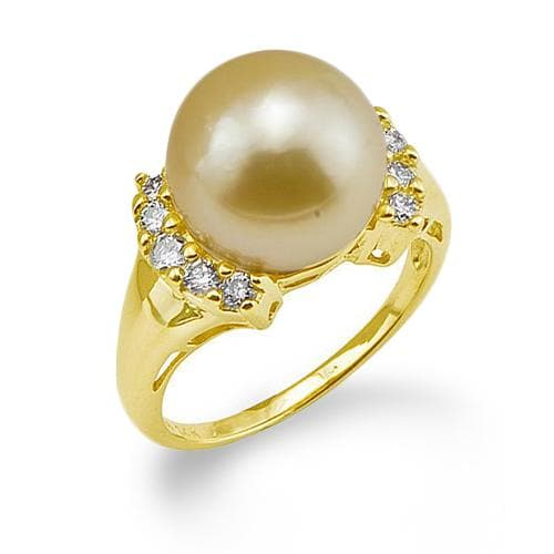 South Sea Golden Pearl Ring with Diamonds in 14K Yellow Gold (12-13mm)
