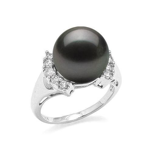 Tahitian Black Pearl Ring with Diamonds in 14K White Gold (12-13mm)