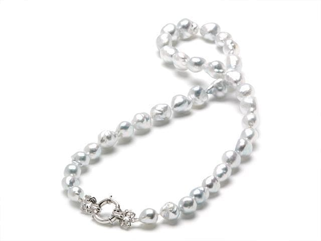 ALTERATION 001-03615-051019 ADD 4 PEARLS TO 006-06706 14K WHITE STRAND GRADUATED SOUTH SEA LIVING HEIRLOOM CLASP 9-12 MM/12D