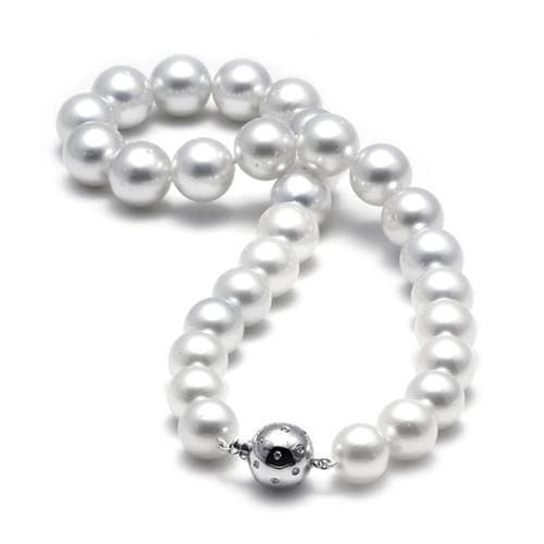 South Sea White Pearl Strand with Diamond in 14K White Gold (12-15mm)