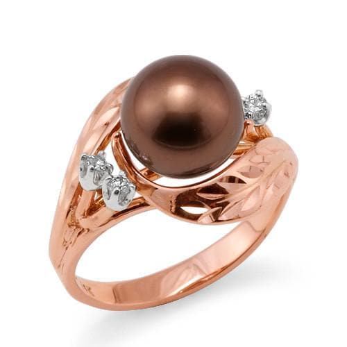 Chocolate Tahitian Pearl Maile Ring With Diamonds In 14k
