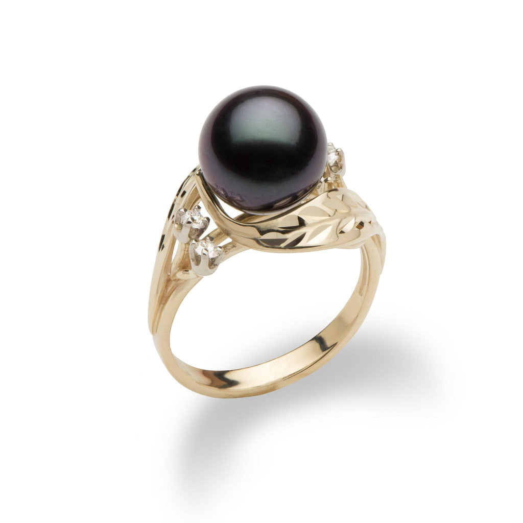 Tahitian Black Pearl Ring with Diamonds in 14K Yellow Gold 9-10mm - Maui Divers Jewelry