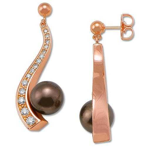 Chocolate Tahitian Pearl Earrings with Diamonds in 14K Rose Gold (9-10mm)