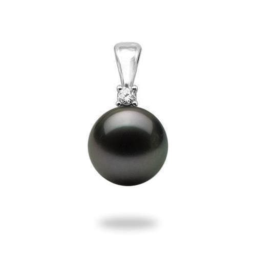 Tahitian Black Pearl Pendant in White Gold with Diamonds (10-11mm)-Maui Divers Jewelry