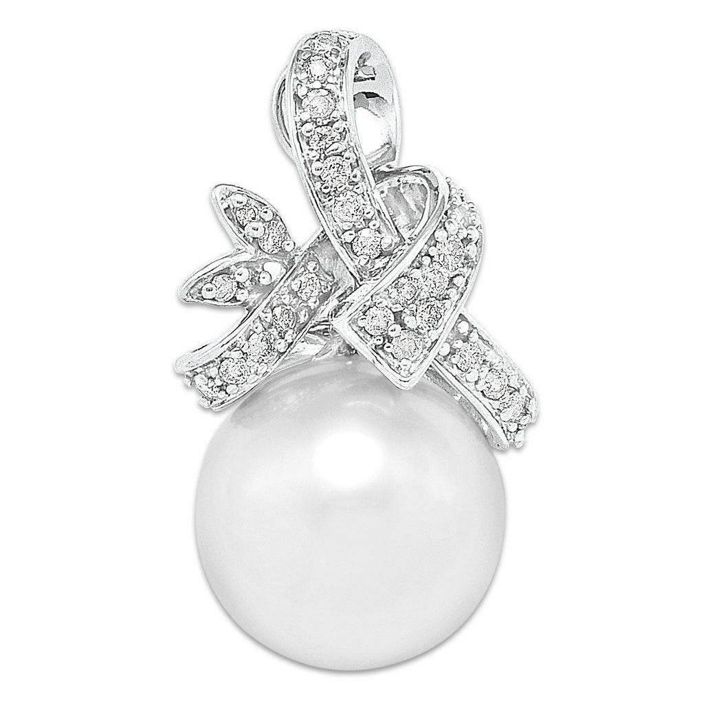 South Sea White Pearl Pendant in 14K White Gold with Diamonds
